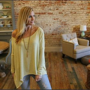 Super Soft yellow-grey french terry tunic