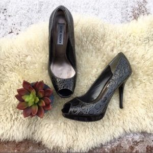 Steve Madden Shoes - {Steve Madden} Croc Embossed Open Toe Pumps 7.5