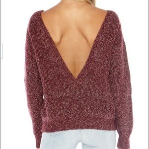 callahan Sweaters - Callahan V Back Sweater in Heather Oxblood