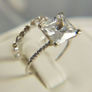 Jewelry - 3ct princess cut Dainty Engagement Ring 2pc