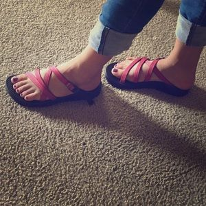 Chacos Shoes - Red/ Pink and Black Chacos