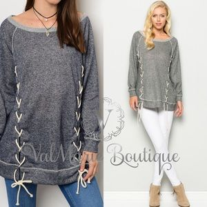 French Terry Lace Up Top