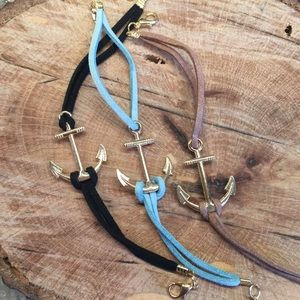 Jewelry - ▪FINAL SALE▪ Black Suede Leather Anchor Bracelet