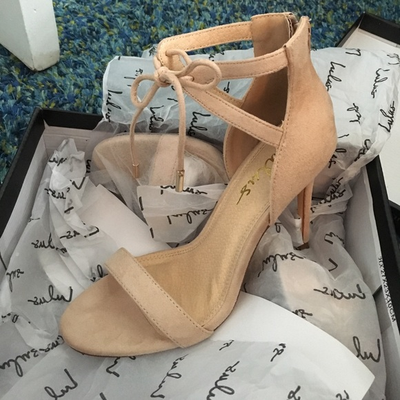 760b76c9cfd Lulus Kate Nude Suede Ankle Strap Heels Size 7.5