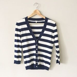 J. Crew Sweaters - J. Crew Navy and White Striped Cardigan