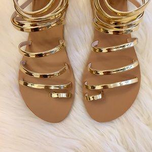 🆕 Melrose Metallic Gold Toe Ring Sandals