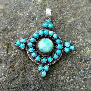 BOHO Vintage Sterling Silver Turquoise Pendant