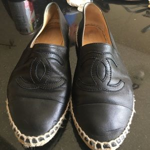 CHANEL Shoes - Black Chanel leather  espadrilles
