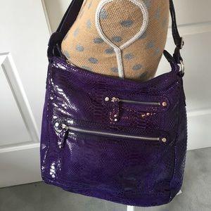 Perlina Handbags - Perlina Hobo Bag purse- purple snakeskin design!