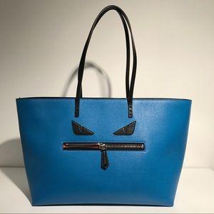 Fendi Handbags - Fendi Monster Tote Saffiano Leather Blue