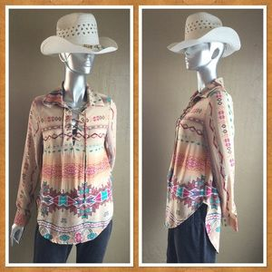 Ethnic Peasant Tunic Blouse