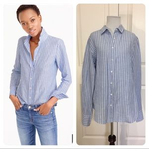 J. Crew Tall perfect shirt in striped cotton-linen