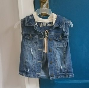 Wallflower Tops - NWT, Denim vest with hood