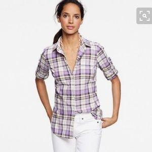 J. Crew Tops - JCREW the perfect shirt in purple plaid/flannel