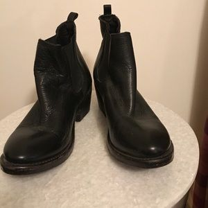 Black Leather Booties By Vintage - Size 8