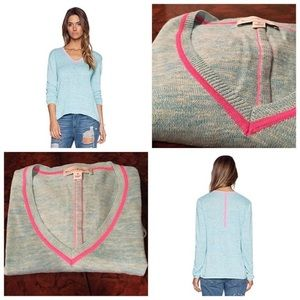 White + Warren Sweaters - Like NEW White + Warren Neon Trim Sweater!  Sz M!