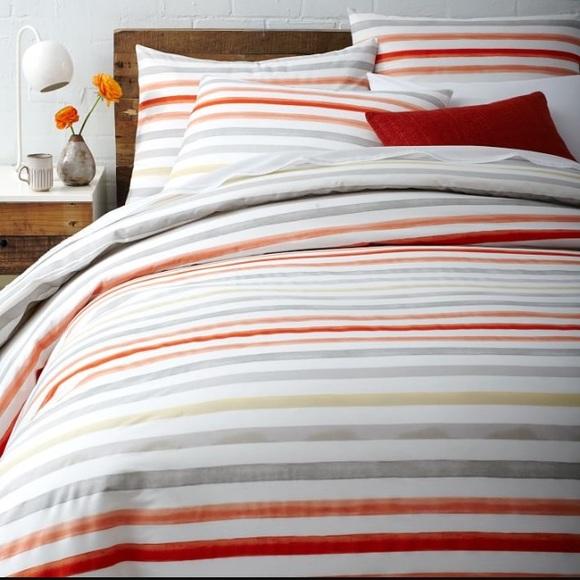 West Elm Bedding Kingsized Watercolor Stripe Duvet Cover Poshmark