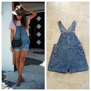 Xhileration Vintage Denim Overall Shorts
