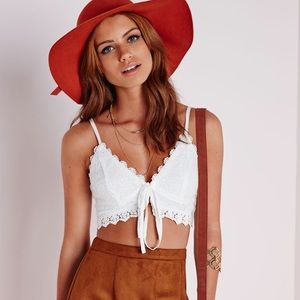 Missguided Tops - Misguided Lace Tie Front Bralette