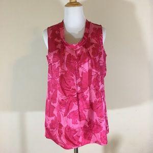 Talbots sleeveless pink blouse 10