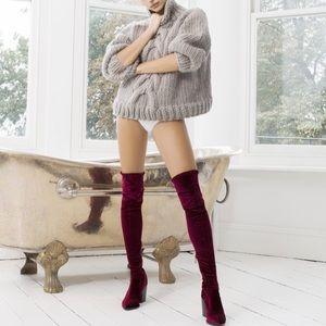 Burgundy Velvet Over the Knee Boots