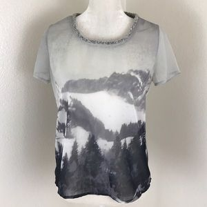 Scotch & Soda Tops - Maison Scotch Nature Print Gray Chiffon Silky Tee