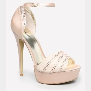bebe Shoes - Bebe Aidann Ankle Strap Sandals in Champagne