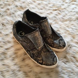 G by Guess Shoes - G by Guess Snakeskin Bling Slip On Sneakers