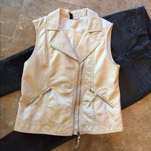 H&M Moto Vest Faux Leather Bone White Zippers