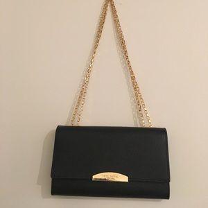 henri bendel Handbags - Henri Bendel Black & Gold Wallet on a Chain