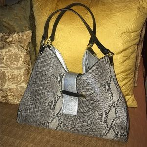 Kate Landry Handbags - Kate Landry black and gray snake skin pattern bag