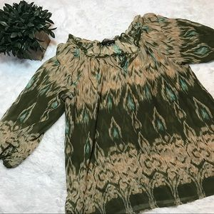Willi Smith Tops - Women's sheer 3/4 sleeve olive/tan Blouse