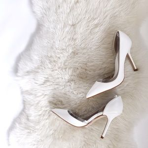 Zara White Pointed Pumps with Lucite Trim