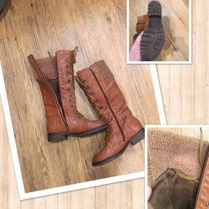 Lace up ridding boots