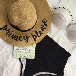 Accessories - Embroidered Floppy Straw Sun Hat- Privacy Please