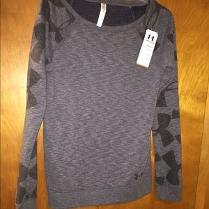 Under armour grey French terry fleece top shirt m