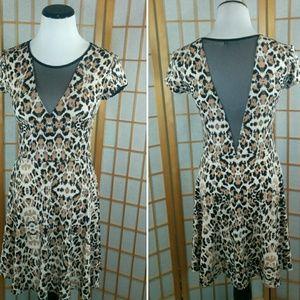 Kimchi Blue Dresses & Skirts - Kimchi Blue leopard print and mesh skater dress