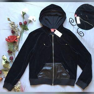 Anne Klein Tops - Anne Klein Velour Zip Up Hooded Sweatshirt