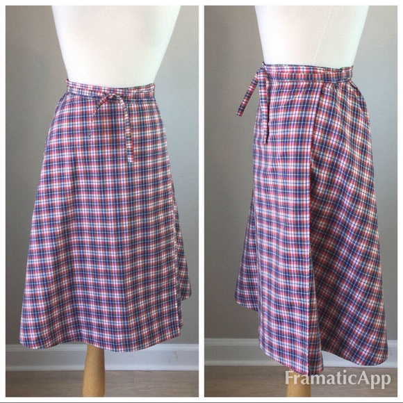 Vintage Skirts - Vintage 70's Plaid Wrap Skirt