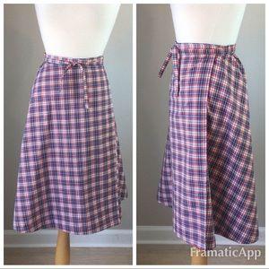 Vintage Skirts - Vintage 70's Plaid Wrap Skirt
