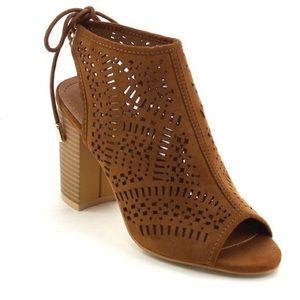 Bchic Shoes - 🆕 Laser Cut Taupe Peep Toe Booties