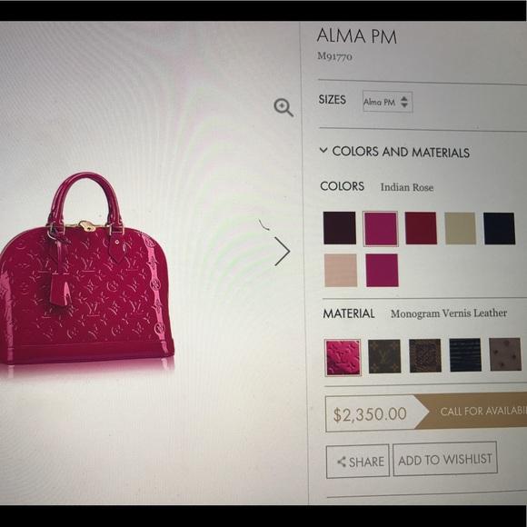 6f4b686f0f9e Louis Vuitton Handbags - Alma PM - Beautiful Indian Rose Color.
