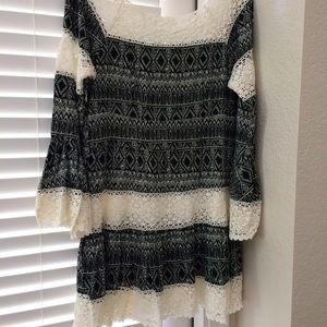 Dresses & Skirts - Lace Bell Sleeve Mini Dress Boho Bohemian