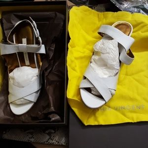 Cynthia Vincent  white snap around ankle heel
