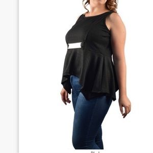 Tops - Black peplum top with keyhole back