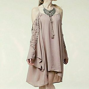 Threadzwear Dresses & Skirts - Mauve Crocheted Cold-shoulder dress