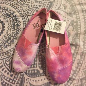 Soulmates Shoes - Canvas pink purple flats tye dye shoes M