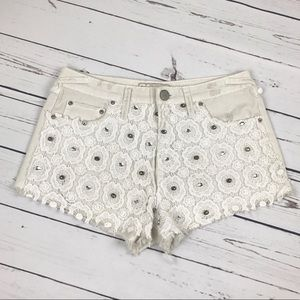 Free People Pants - Free People Ivory Crochet Embellished Denim Shorts