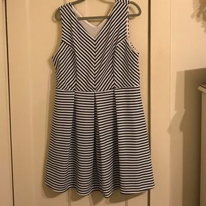 Monteau Dresses & Skirts - FLASH SALE! 💙 Blue and white striped v-neck dress