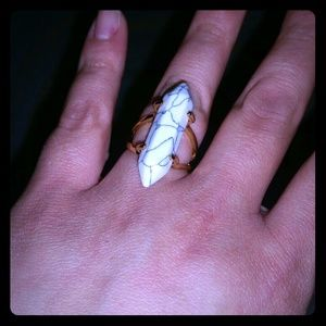 Jewelry - White Turquoise Gold Plated Ring Size 8